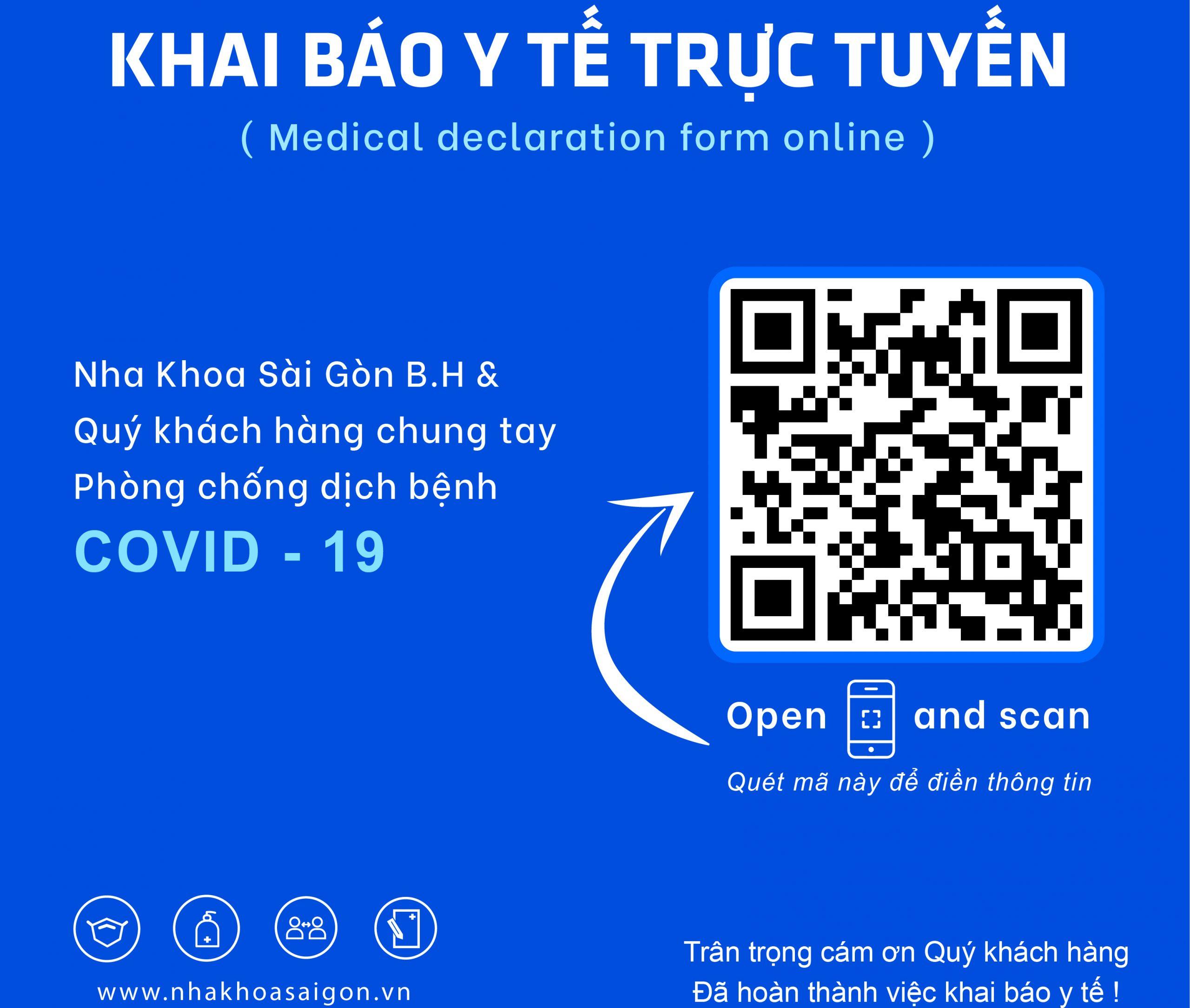 Thông bảo triển khai khai báo y tế trực tuyến tại Nha Khoa Sài Gòn BH
