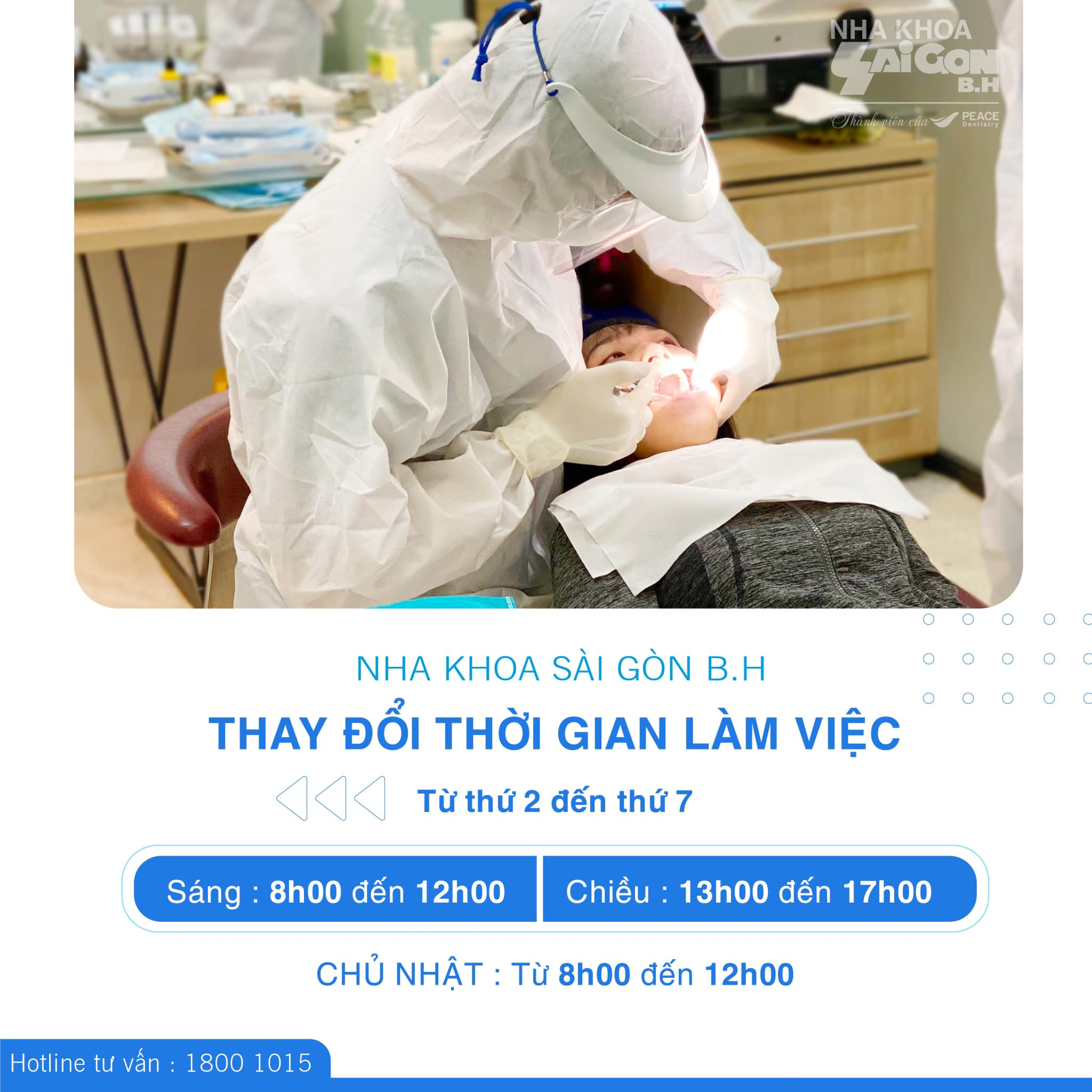 Nha Khoa Sài Gòn B.H Thông Báo Thay Đổi Thời Gian Làm Việc